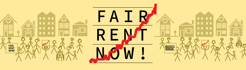 A drawing with people holding signs demanding fair rent now. Join the call for rent controls now!